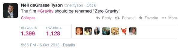 Neil DeGrasse Tyson Tweets Gravity