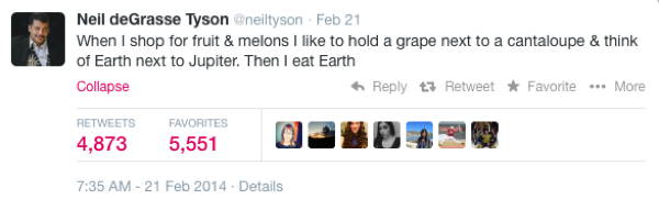 Neil DeGrasse Tyson Tweets Earth