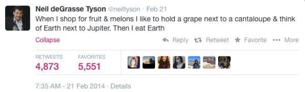 Neil DeGrasse Tyson Tweets Earth