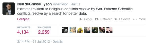 Neil DeGrasse Tyson Tweets War