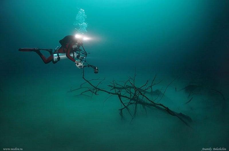 Underwater Divers Float River