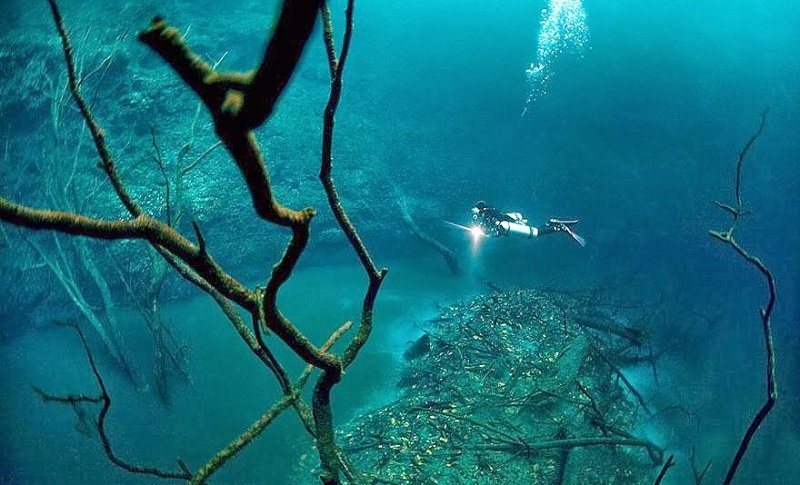 Diver Hovering Over Underwater River
