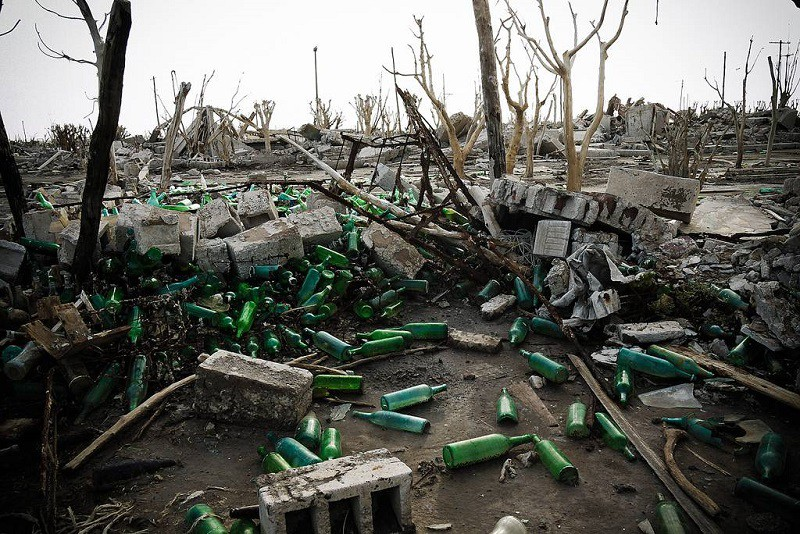 Littered Bottles in Seawater Flooded Ruins