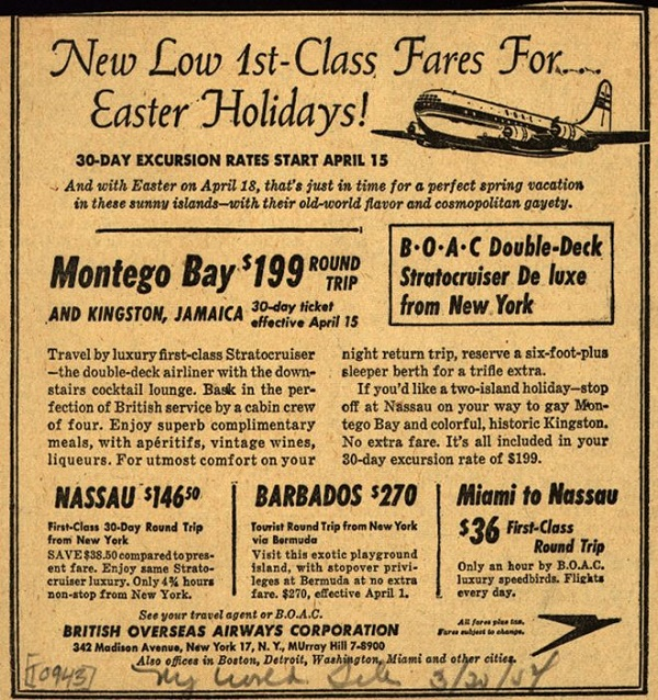Vintage Airlines Advertisement 1954