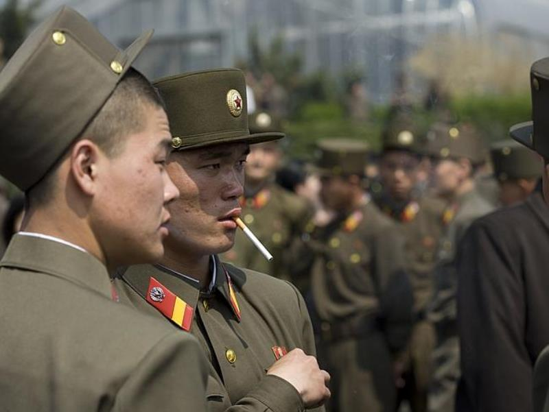 North Korean Soldiers Smoking