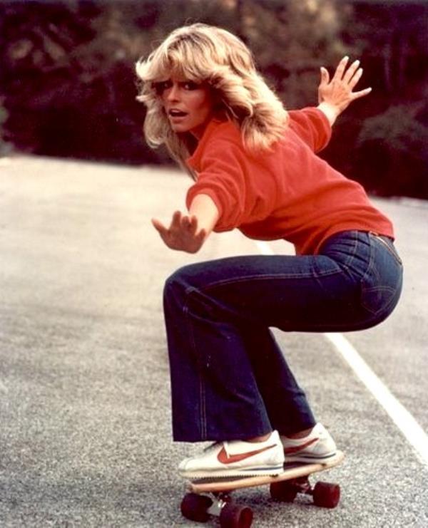 Farrah Fawcet Skateboarding