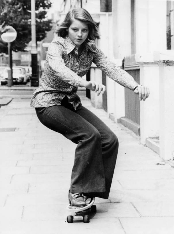 Jodie Foster Skateboarding