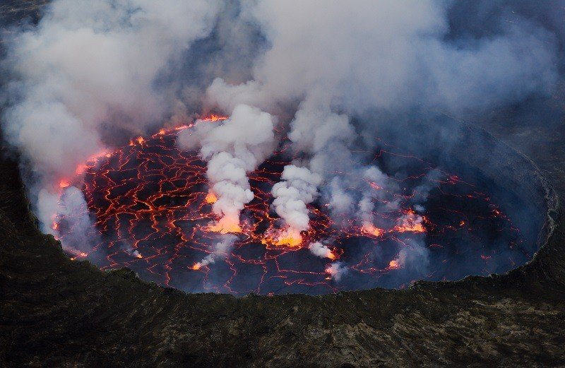 Active Volcano Smoking