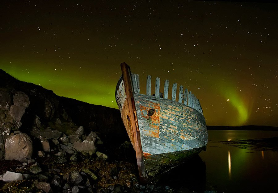Abandoned Iceland Night Ship