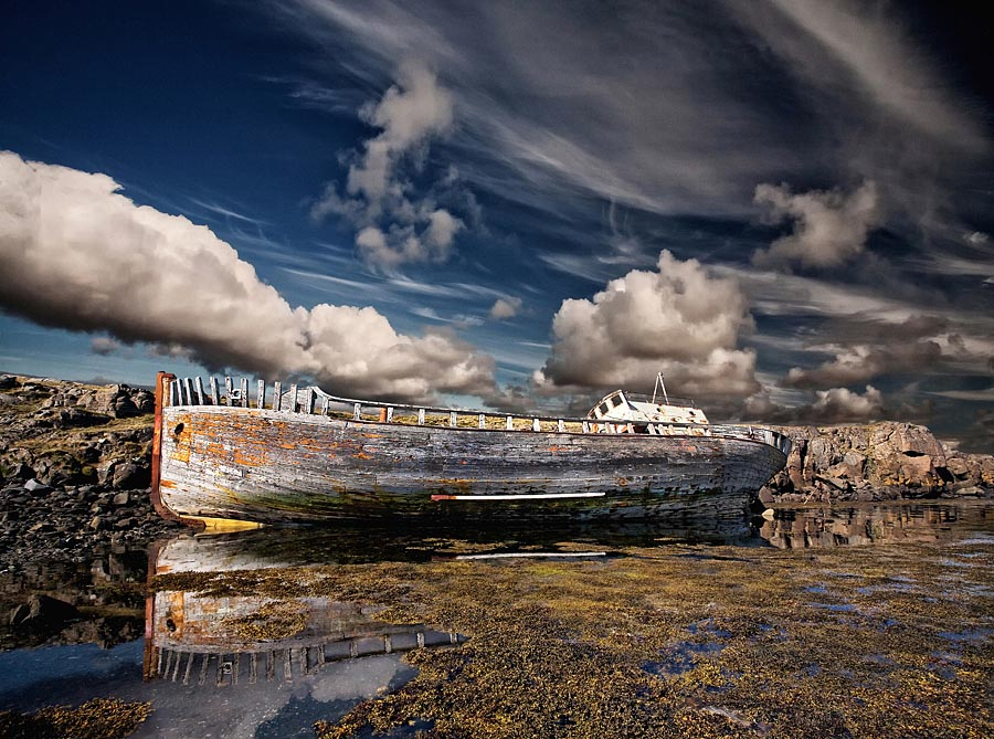 Abandoned Iceland Yellowing Ship