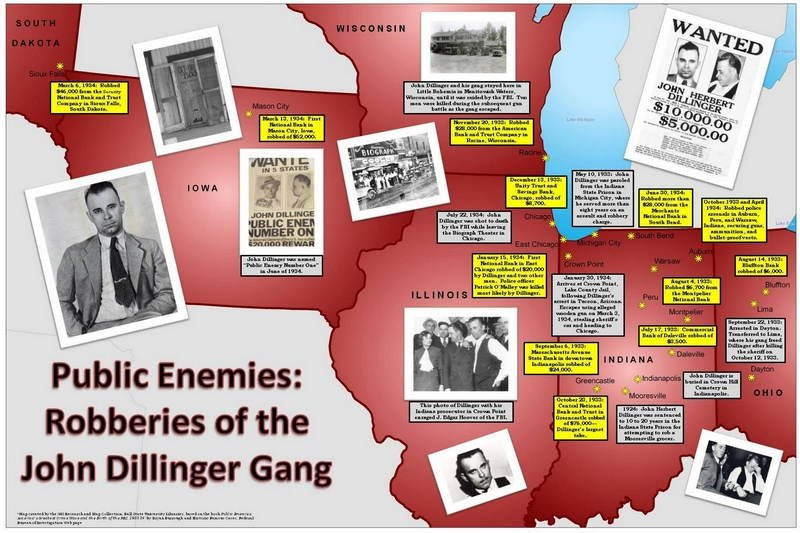 Map Of Dillinger Gang Robberies