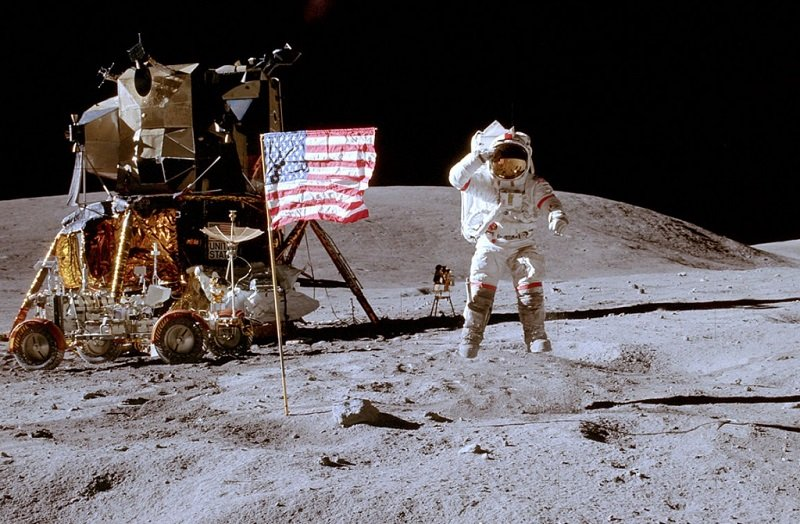 Neil Armstrong Places Flag on Moon