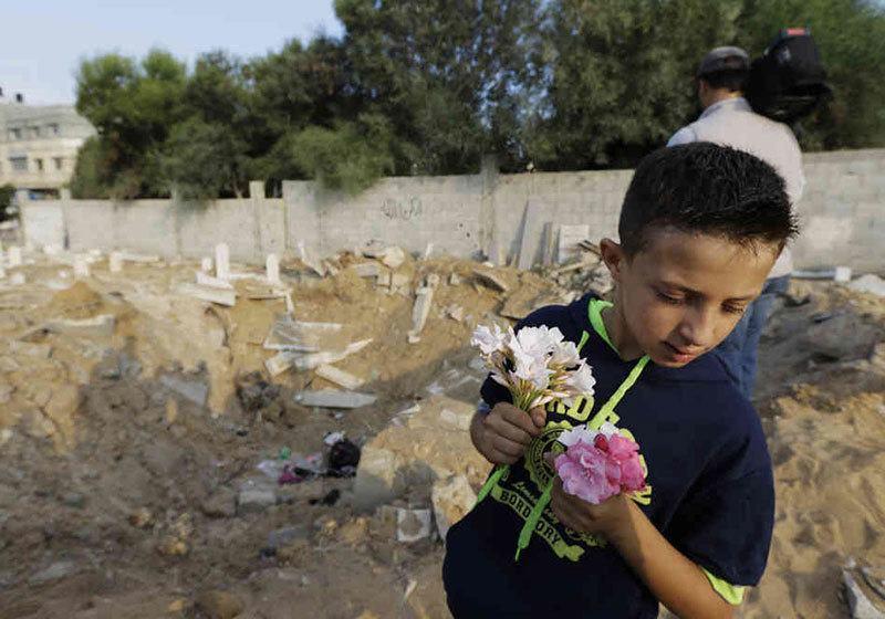 Children in Gaza Ruins