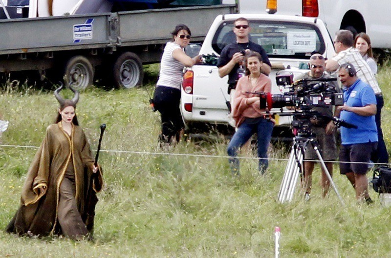 Angelina on Set at Maleficent