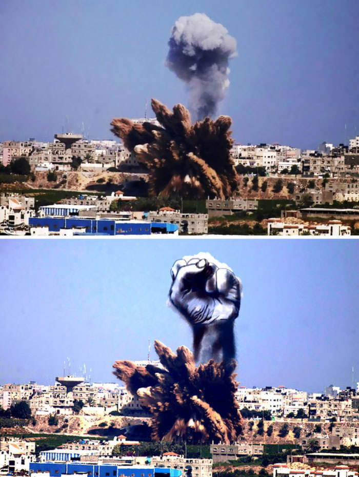 Gaza Israel Rocket Strike Fist