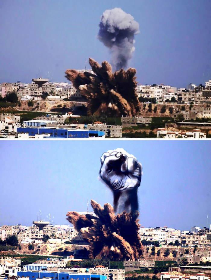 Gaza Israel Rocket Strike Fist