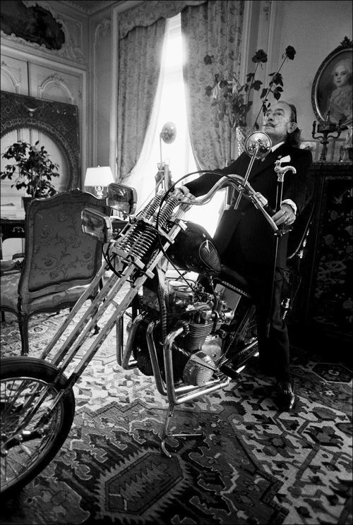 Salvador Dali On A Motorcycle