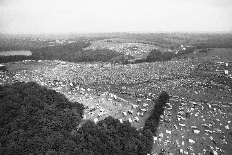 46 Years Ago Today, 500,000 People Descended On A Farm For The Greatest Music Festival Of All Time Woodstock-1969-aerial-photograph