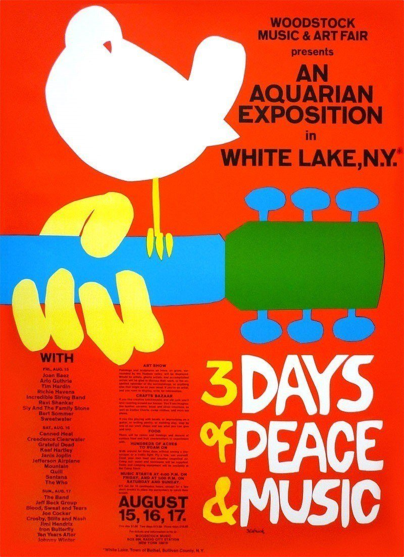 46 Years Ago Today, 500,000 People Descended On A Farm For The Greatest Music Festival Of All Time Woodstock-poster