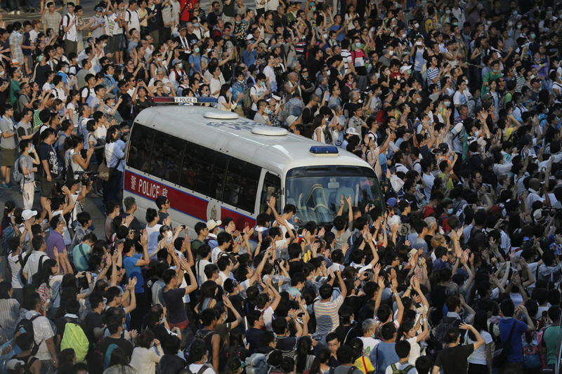 Hong Kong Protests Blocked Bus