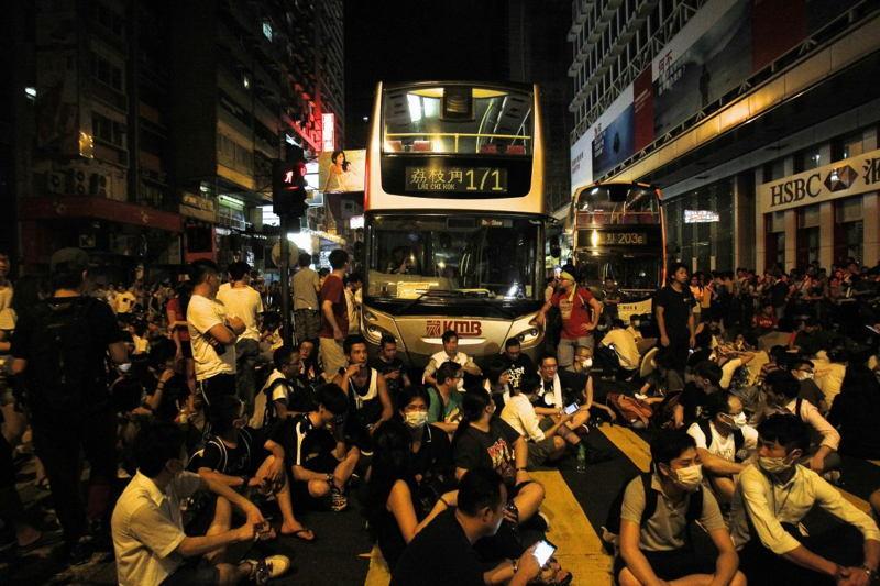Hong Kong Protests Bus Camping
