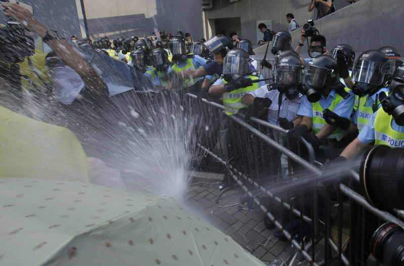 Hong Kong Protests Spray