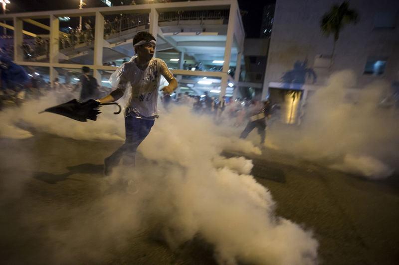 Hong Kong Protests Throwing Umbrella
