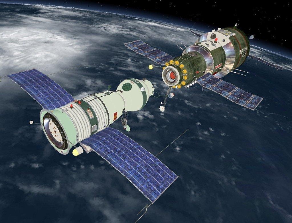 Soyuz and Salyut Docking in Space.