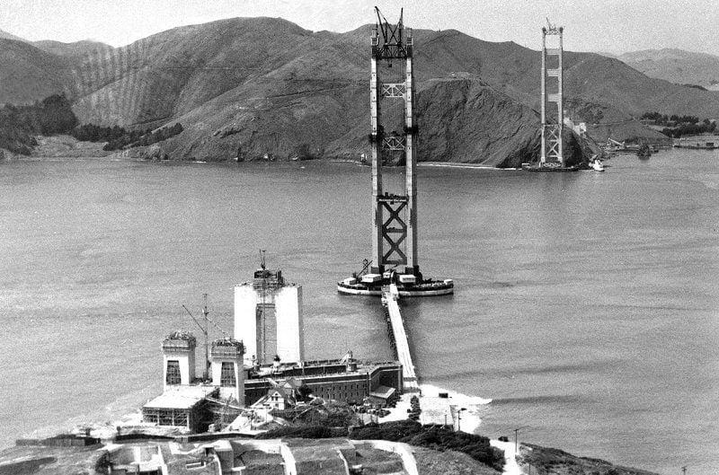 Construction on Golden Gate Bridge