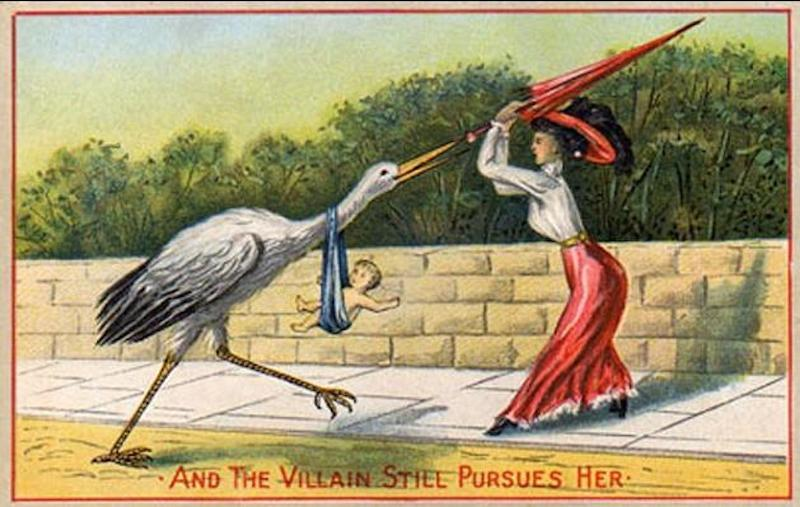 Beating off the stork