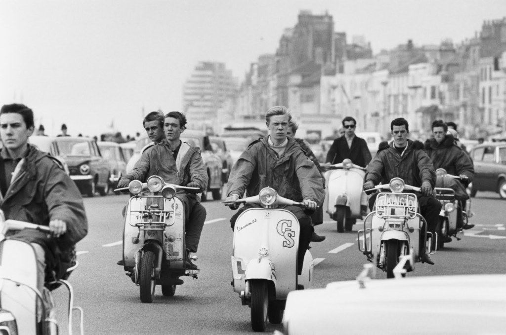 Mods On Mopeds In Britain.