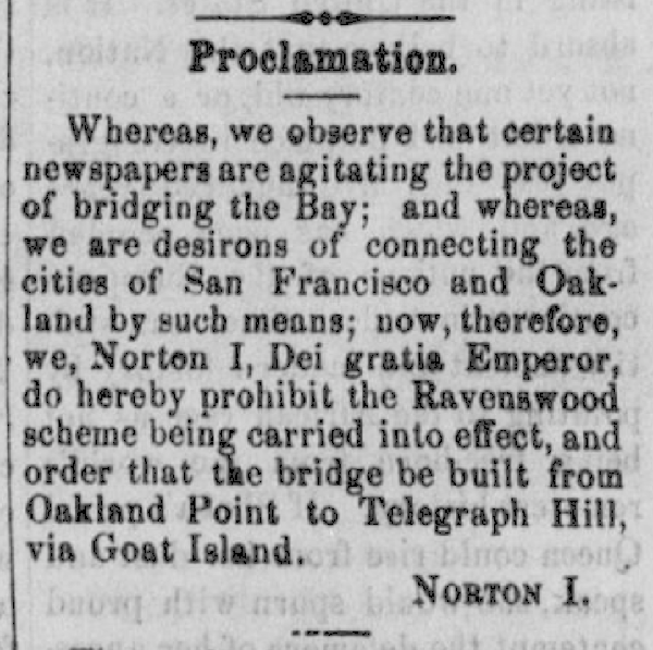 Emperor Norton Proclamation