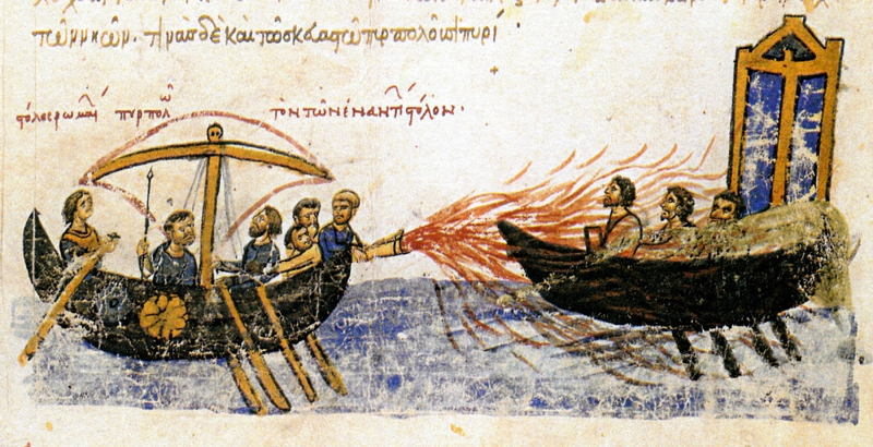 Depiction Of Greek Fire Used At Sea