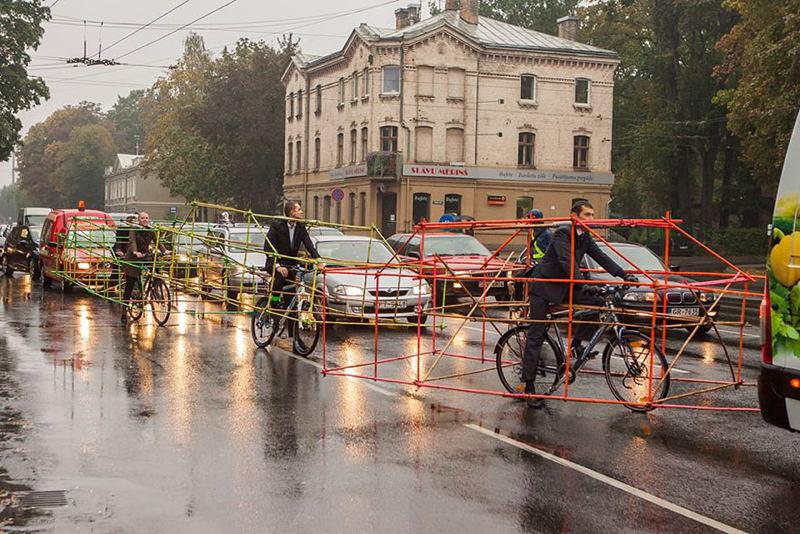 Latvia Cyclists Line
