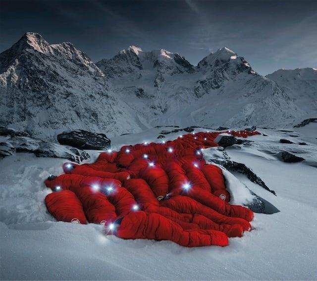 Sleeping Climbers Huddled On Matterhorn