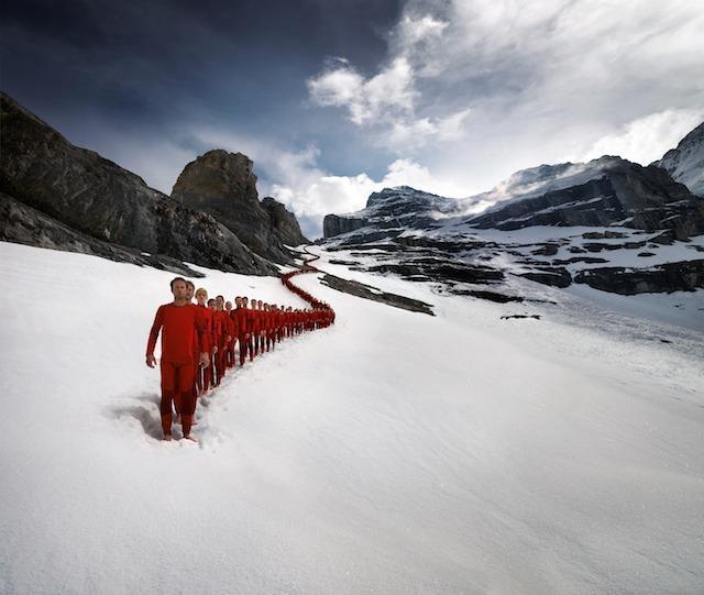 Chain of climbers on the Matterhorn
