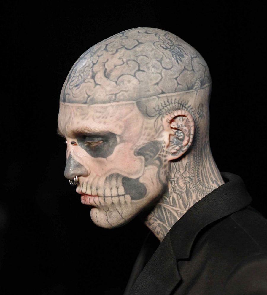 Extreme Body Modification Skull Tattoo