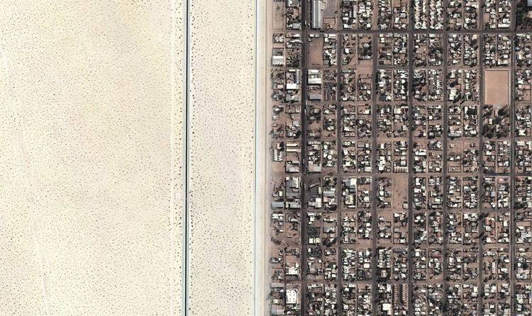 US-Mexico Border Aerial View