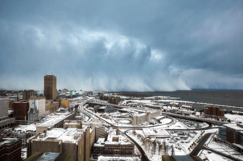 A massive snowcloud descends onto Buffalo.