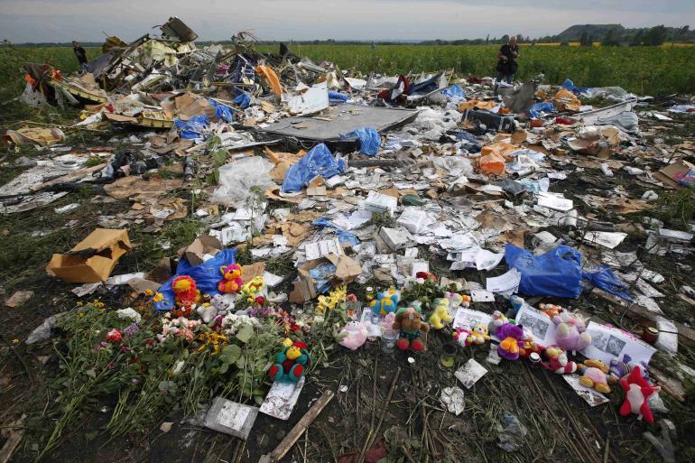 Makeshift Memorial At MH17 Crash Site.