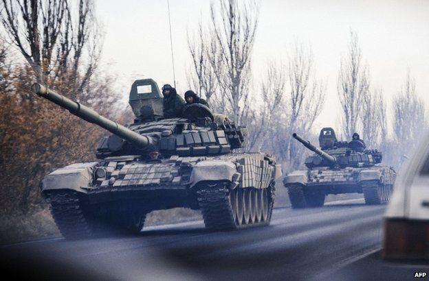 Unidentified Troops Enter Ukraine By Tank.