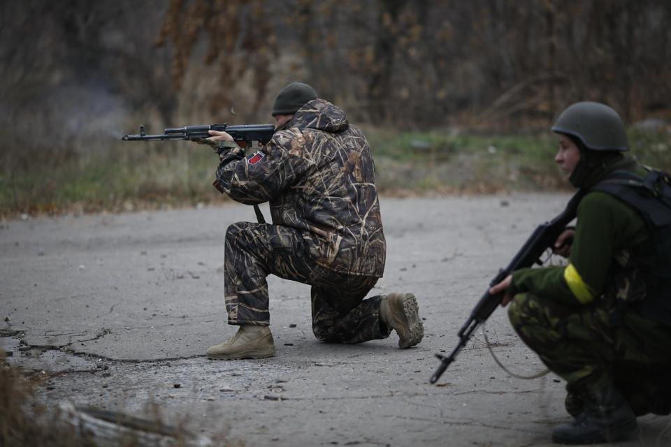 Ukrainian Volunteers Open Fire Near Donetsk.