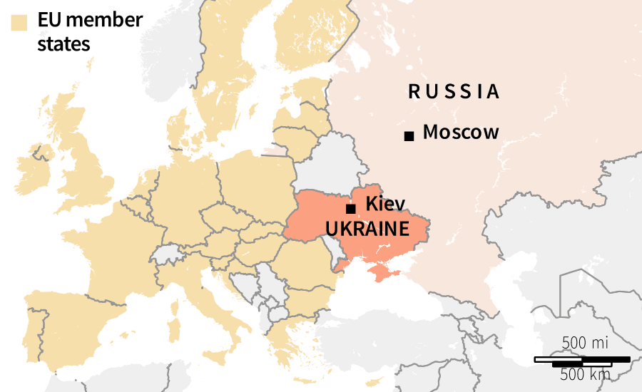 Map Of Ukraine's Position In Europe.