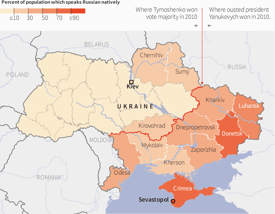 Map Of Russian Speakers In Ukraine.