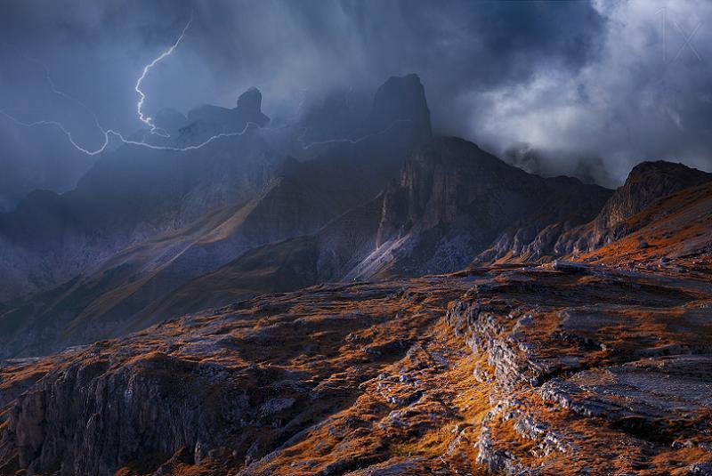 Dramatic Weather Lightning Alps