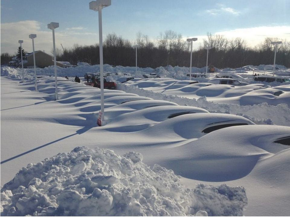 Stranded cars in a Buffalo parking lot.