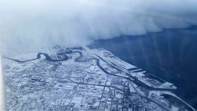 Aerial view of Buffalo blizzard rolling in.
