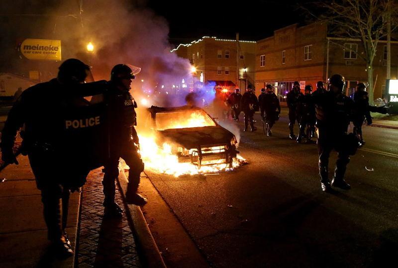 Ferguson Riots Burning Car