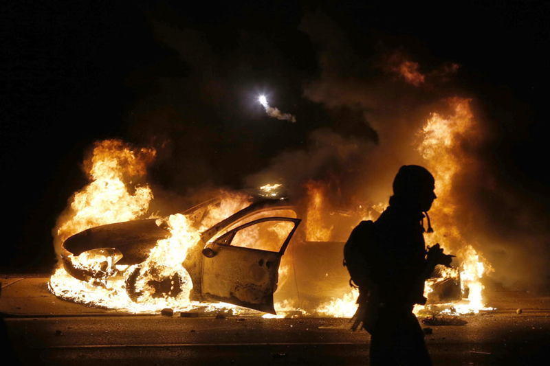 Ferguson Riots Flaming Car