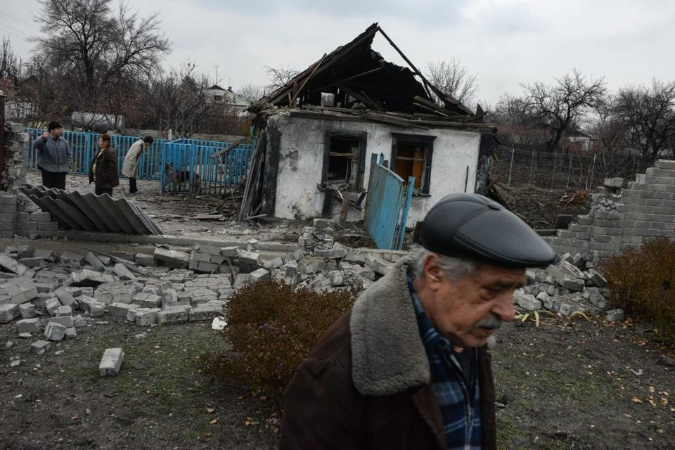 Ukrainian Homes Destroyed By Shelling.